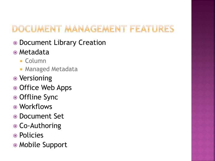 Document Management features