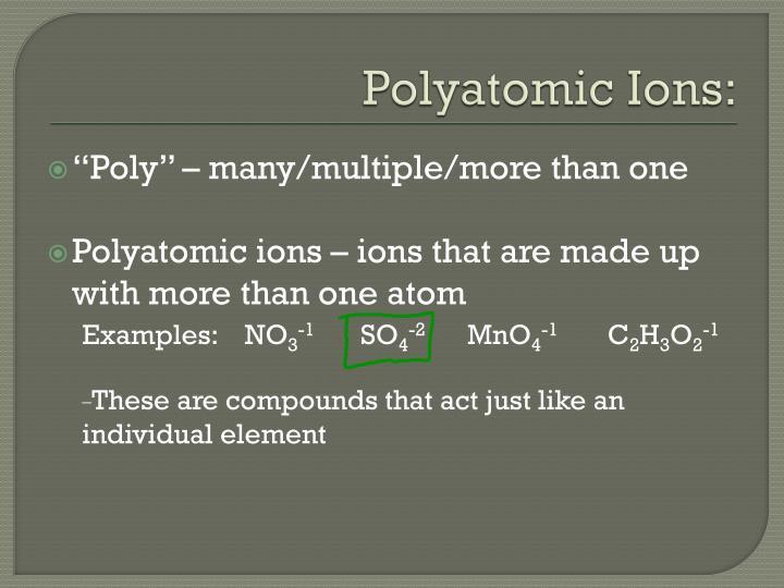 Polyatomic Ions: