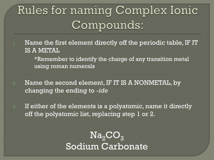 Rules for naming Complex Ionic Compounds: