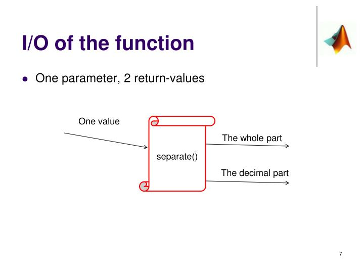 I/O of the function
