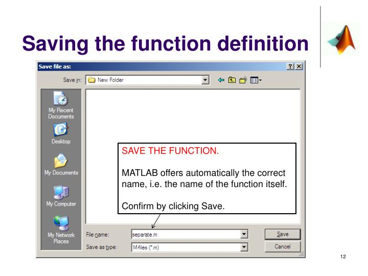 Saving the function definition