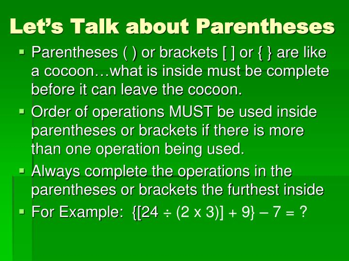 Let's Talk about Parentheses