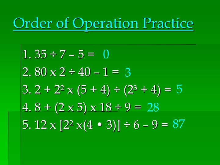 Order of Operation Practice