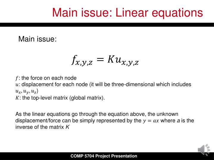 Main issue: Linear equations