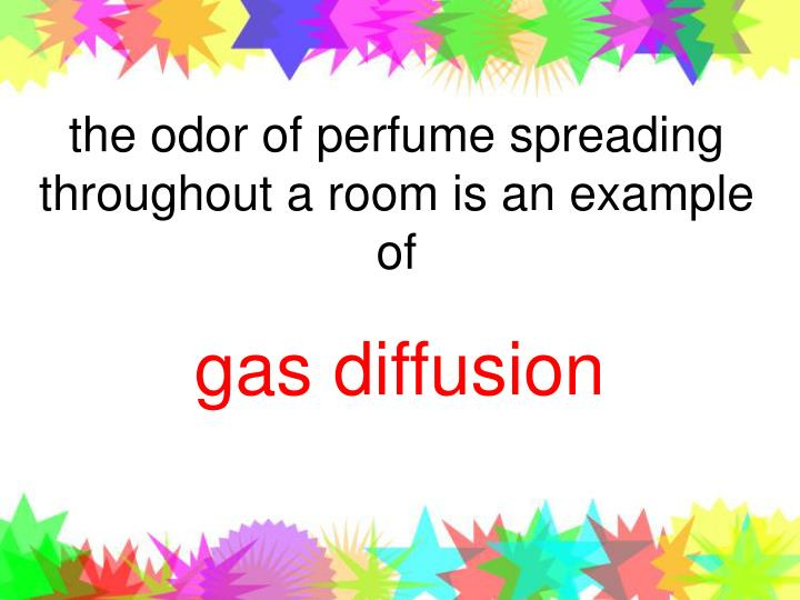 the odor of perfume spreading throughout a