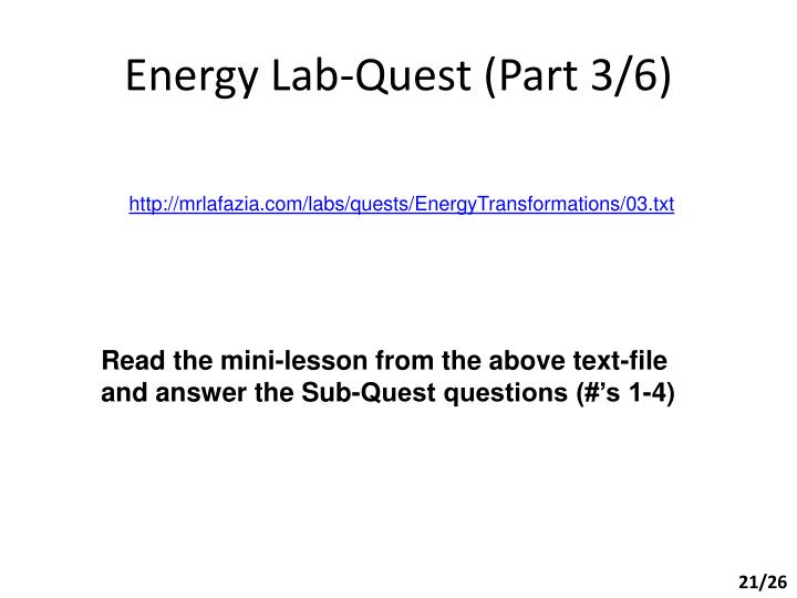 Energy Lab-Quest (Part 3/6)