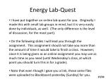 energy lab quest