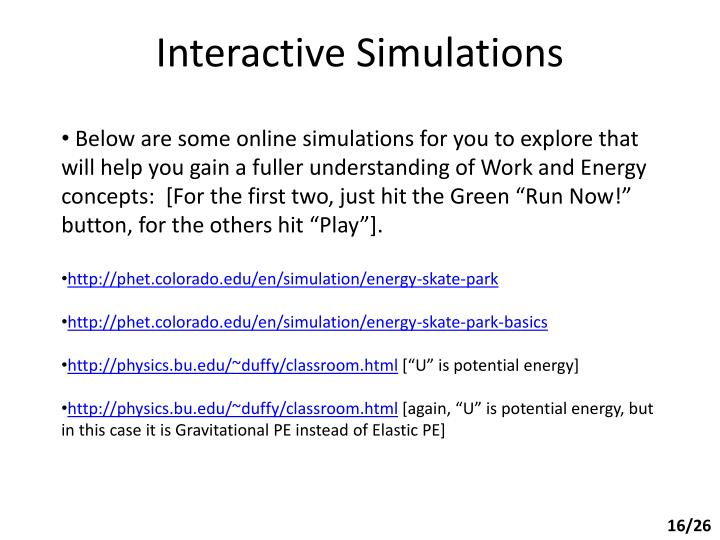 Interactive Simulations