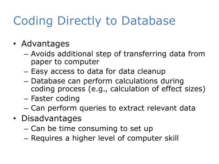 Coding Directly to Database