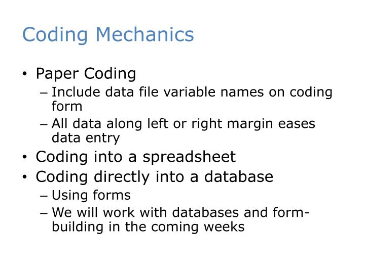 Coding Mechanics