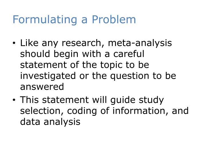 Formulating a Problem