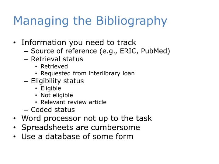 Managing the Bibliography