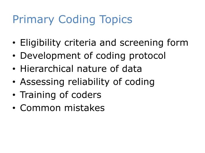 Primary Coding Topics