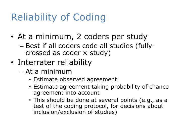 Reliability of Coding