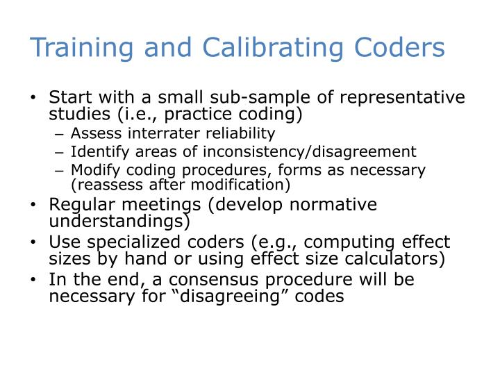 Training and Calibrating Coders