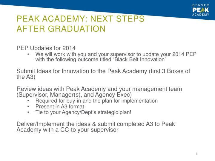 Peak Academy: Next Steps