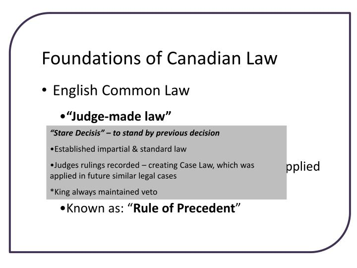 Foundations of Canadian Law