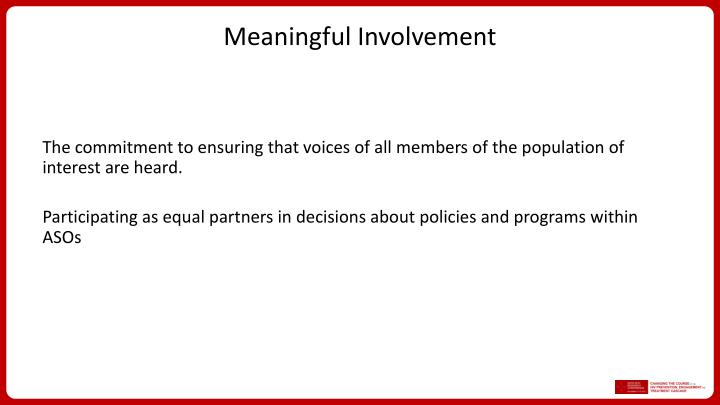 Meaningful Involvement