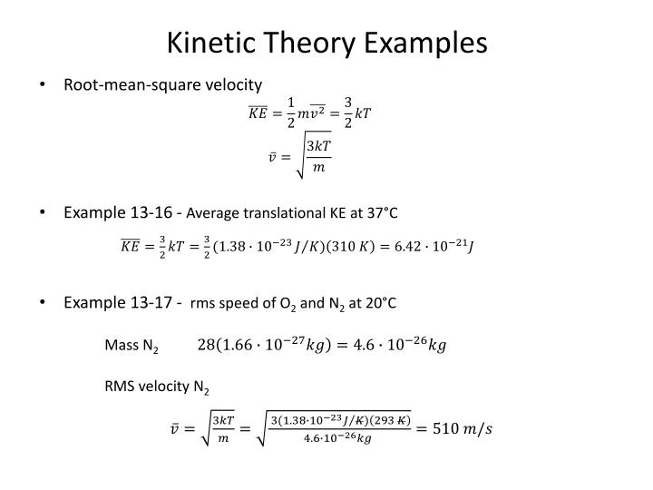 Kinetic Theory Examples
