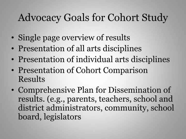 Advocacy Goals for Cohort Study