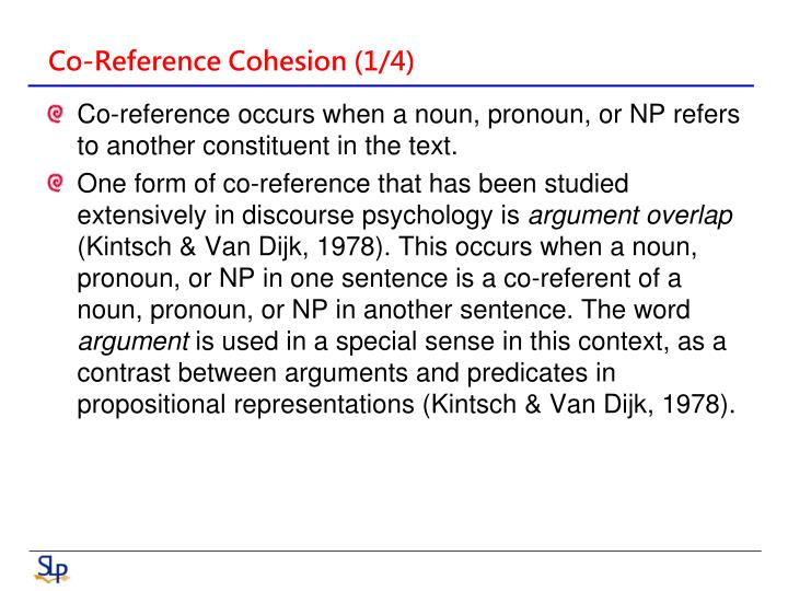 Co-Reference Cohesion (1/4)