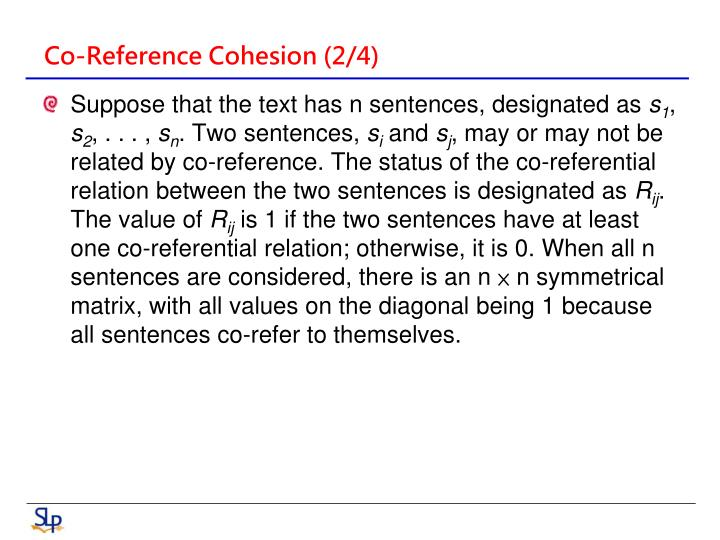 Co-Reference Cohesion