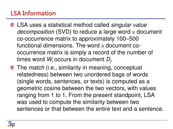 LSA Information