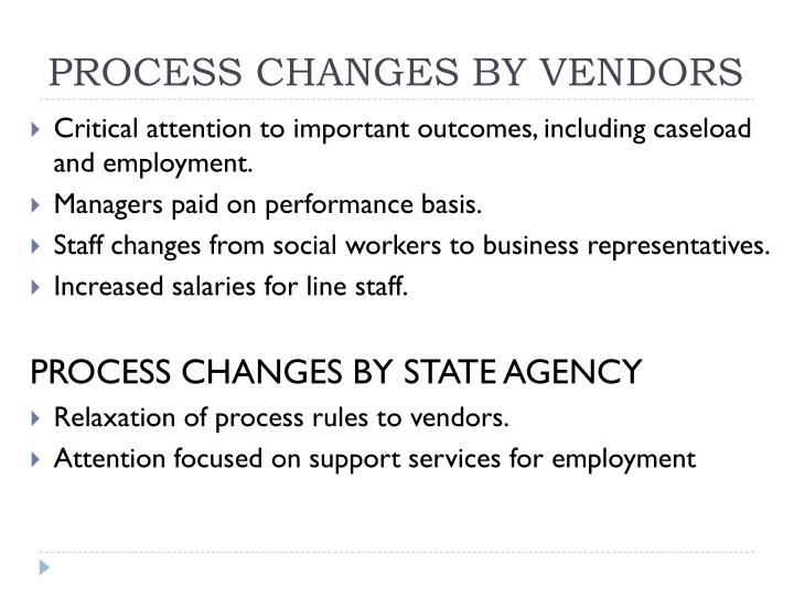 PROCESS CHANGES BY VENDORS