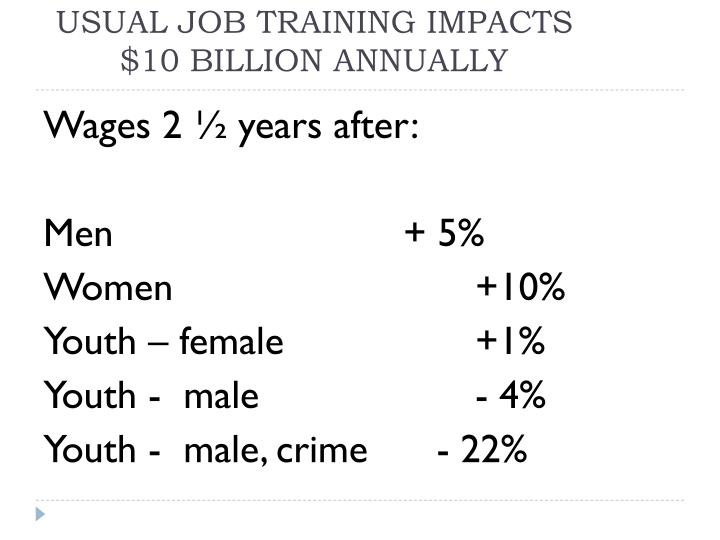 Usual job training impacts 10 billion annually