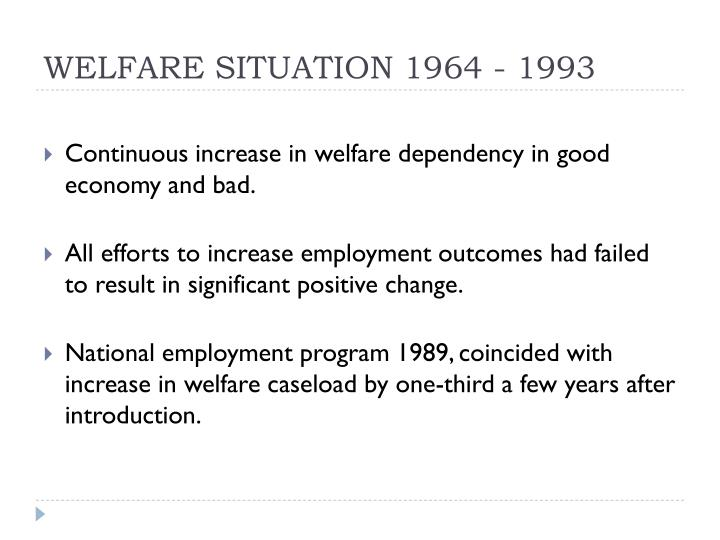 WELFARE SITUATION 1964 - 1993