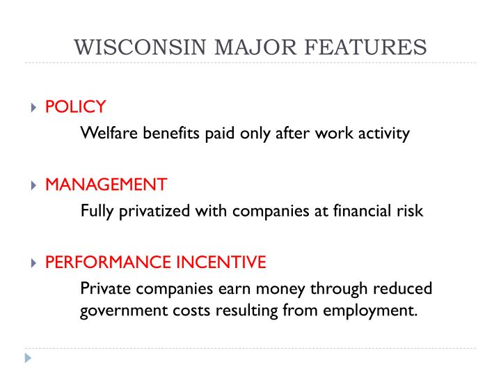 WISCONSIN MAJOR FEATURES