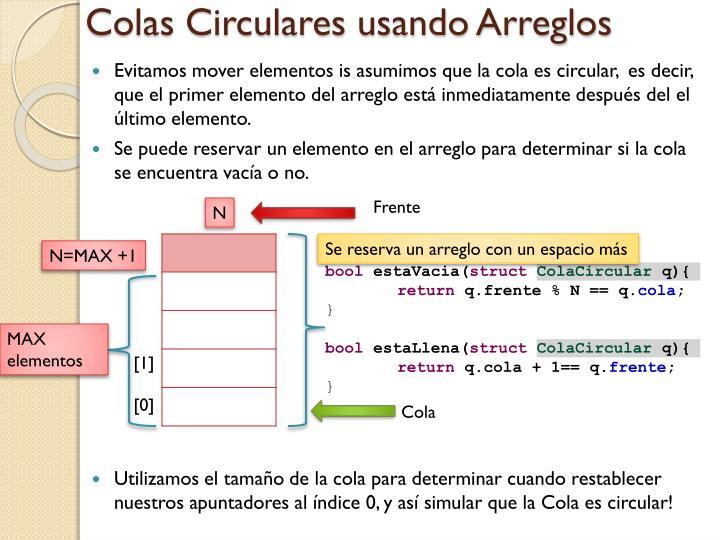 Colas Circulares usando Arreglos