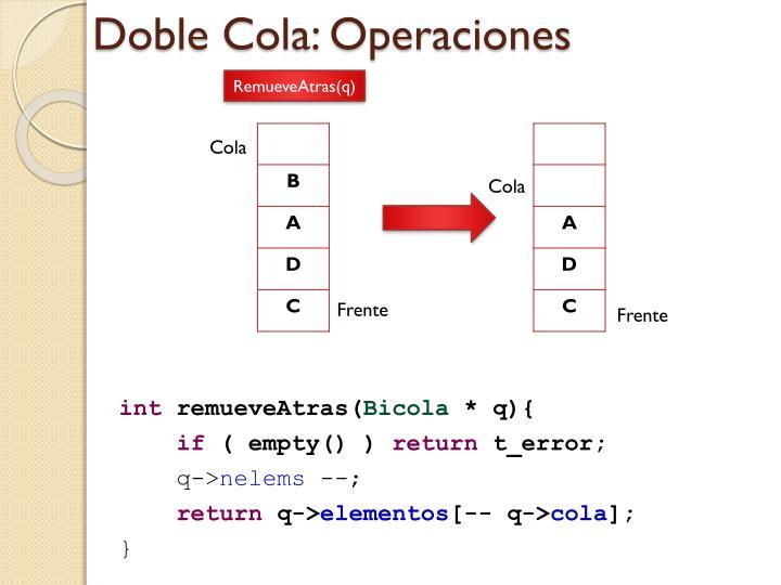 Doble Cola: Operaciones