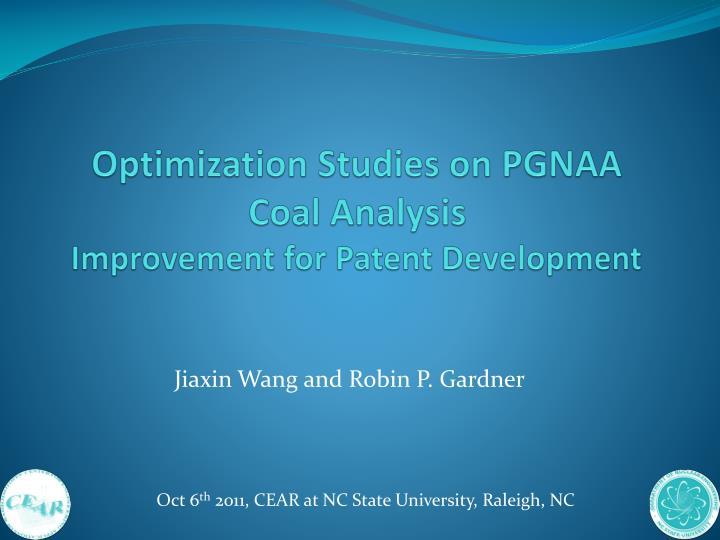 Optimization studies on pgnaa coal analysis improvement for patent development