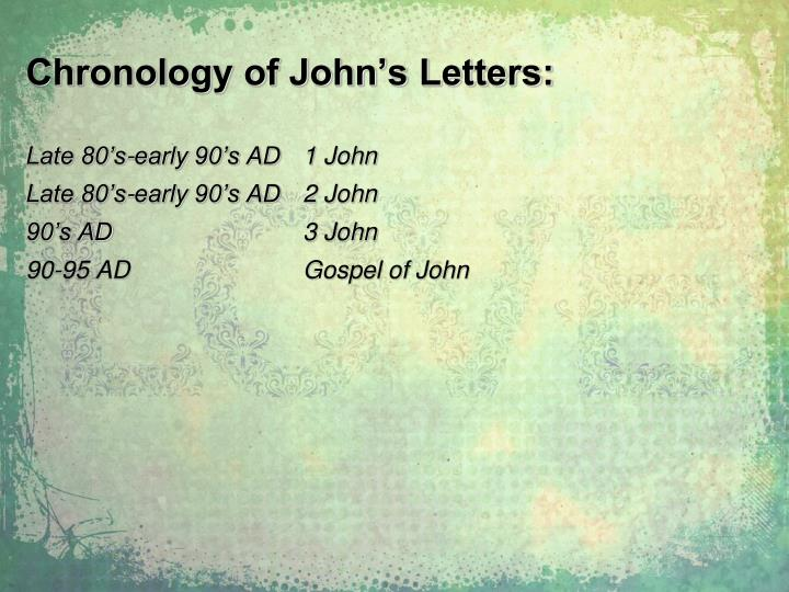 Chronology of John's Letters