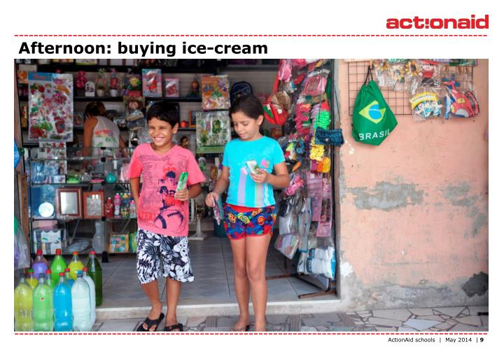 Afternoon: buying ice-cream