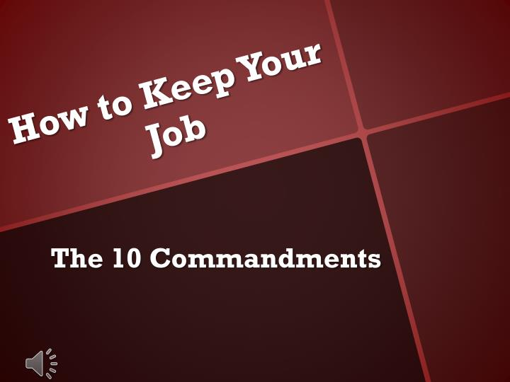 ppt - how to keep your job powerpoint presentation