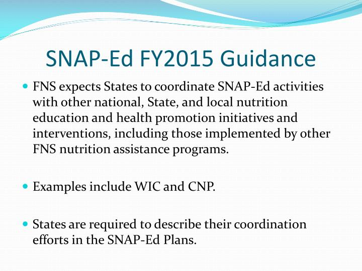 SNAP-Ed FY2015 Guidance