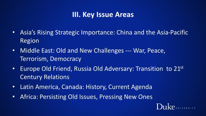 III. Key Issue Areas