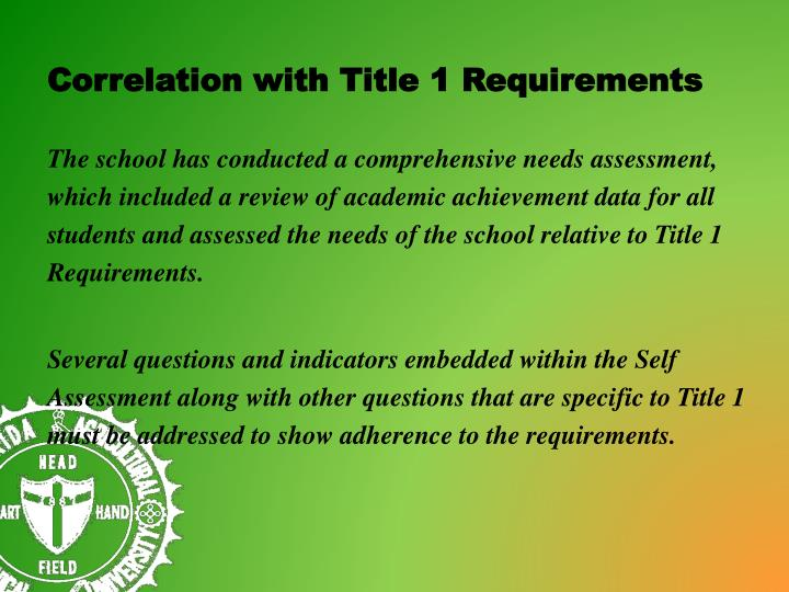 Correlation with Title 1 Requirements