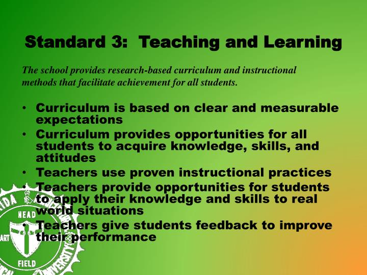 Standard 3:  Teaching and Learning