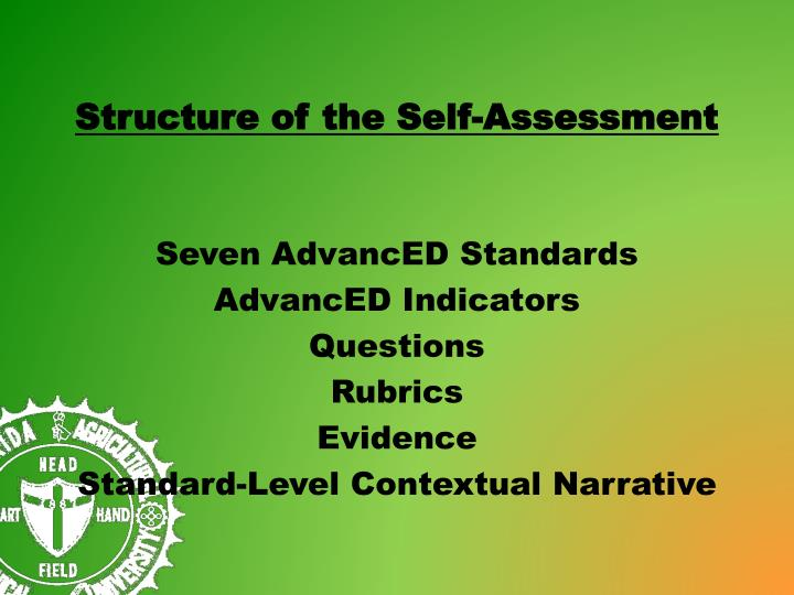 Structure of the Self-Assessment