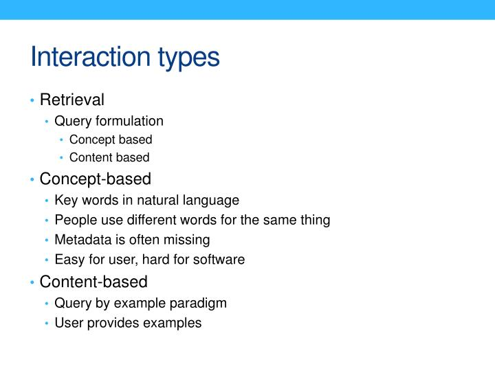 Interaction types