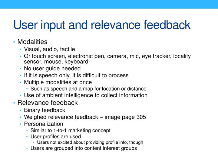 User input and relevance feedback