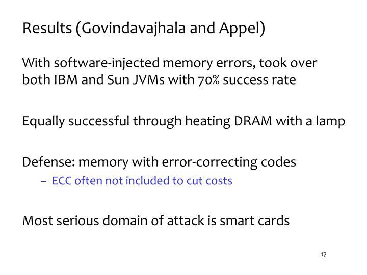 Results (Govindavajhala and Appel)