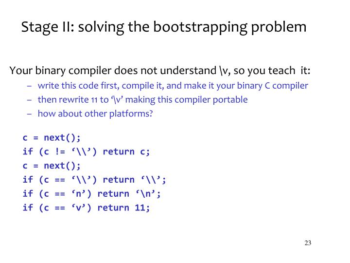 Stage II: solving the bootstrapping problem