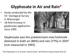 glyphosate in air and rain