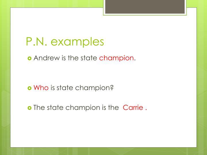 P.N. examples