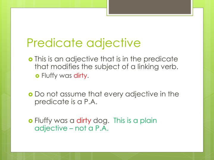 Predicate adjective