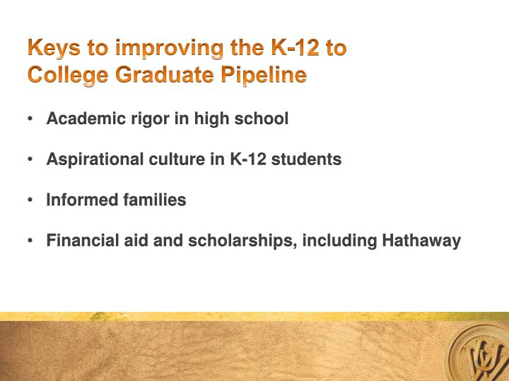 Keys to improving the K-12 to